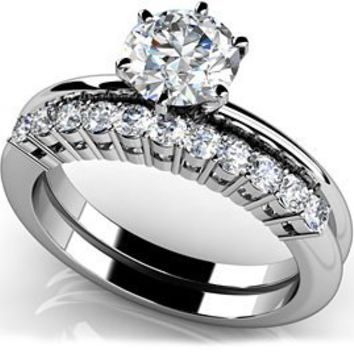 18k White, Diamond Solitaire Studded Band Bridal Set, 0.86-1.61 ct. (Color: HI, Clarity: SI2)