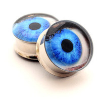 Eyeball Picture Plugs gauges  00g 1/2 9/16 by mysticmetalsorganics