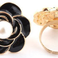 3 Pieces of Ladies Gold with Black Flower with Pearl Adjustable Ring:Amazon:Jewelry