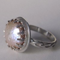 Blister Pearl Ring With Tudor Bezel champagne elegant queen | Metal_Artistry - Jewelry on ArtFire