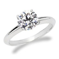 3/4 Carat Round Cut Diamond Solitaire Engagement Ring 14K White Gold 4 Prong (F-G, SI1-SI2, 0.74 c.t.w) Very Good Cut