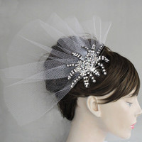 Bridal tulle head piece rhinestone alternative by MammaMiaBridal