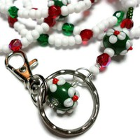 Lanyard Id Badge Necklace Christmas Flowers Breakaway Beaded Handmade
