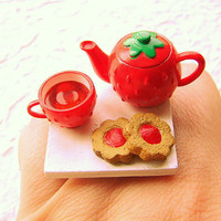 Strawberry Ring - Miniature Food Jewelry By SouZouCreations Etsy - We Love Etsy