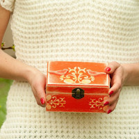 Tangerine Jewelry Box Orange Decorated Jewellery by BeauMiracle