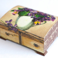 Decoupage Jewelry Box  Art box Chic Decor VIOLETS by BeauMiracle