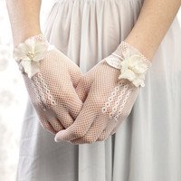 White gloves bridal gloves with vintage by LittleWhiteDresser