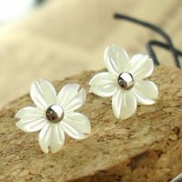 Flower Shape Seashell Studs for Women by adalia on Zibbet