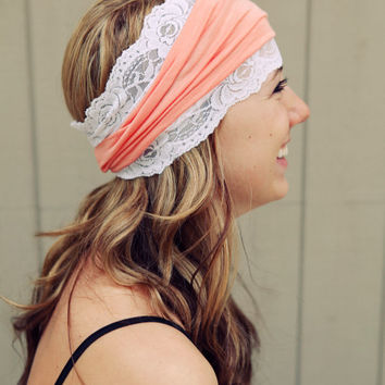 Peach and Lace Knit Headband by BglorifiedBoutique on Etsy
