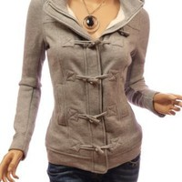 Patty Women Casual Hooded Zip Toggle Closure Jacket
