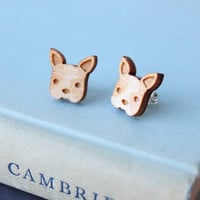 Laser Cut Wooden French Bulldog Earrings/ Frenchie Earrings