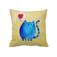 Love of The Blue Kitty Cat Throw Pillow from Zazzle.com