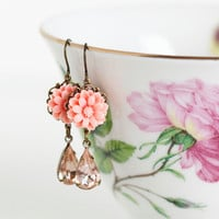 Coral Pink Flower Vintage Jewel Earrings Pale by JacarandaDesigns