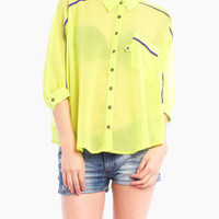 Sleek Stripe Blouse in Neon Green