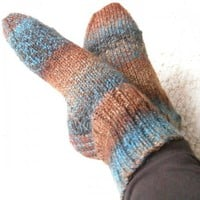 Chunky Socks Heather Stripes Ladies 7 to 8 Size Rust &amp; Teal | SlicKnits - Knitting on ArtFire