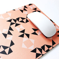 PRE-ORDER: Peach and Black Geometric Soft Fabric Top Mouse Pad with heavy duty natural rubber backing.