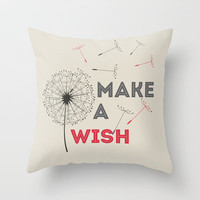 Make a wish red Throw Pillow by 16floor