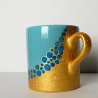 Mug in turquoise and gold - hand painted | dorisse - Housewares on ArtFire