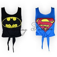 Womens Superman Batman Logo Printed Crop Top Ladies Tie Knot Comic T shirt Vest