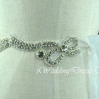 Crystal Bridal Sash Rhinestone Wedding Belt Ivory Bridal Sash Wedding Dress Belt