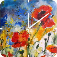 Ginette Fine Art Wildflowers Poppies 2 Custom Clock