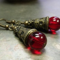 Ruby Glass and Antique Gold Earrings Donation to Coonhoundrescue.com | TheBeadedHound - Jewelry on ArtFire