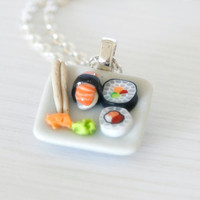 Sushi plate necklace dollhouse food Polymer clay