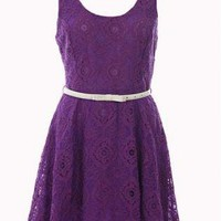 Purple Day Dress - Sleeveless Lace Dress | UsTrendy