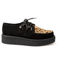 T.U.K. Low Round Creeper Shoe - Black / Leopard