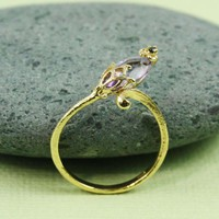 Gold Amethyst Black CZ Floral Ring | tooriginal - Jewelry on ArtFire
