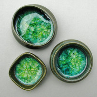 Tiny Pots, Set of 3, with Green Glass, Miniatures, Ring Holders, Trinket Catchers