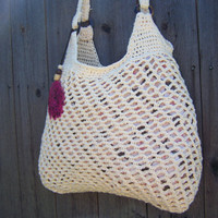Crochet Cotton Bag with FeatherBeige Cream by SoLaynaInspirations