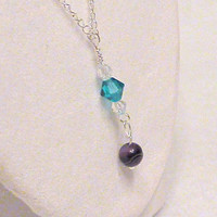 Bridal Wedding Necklace Teal and Clear Swarovski Crystal and Banded Purple Agate Drop Pendant