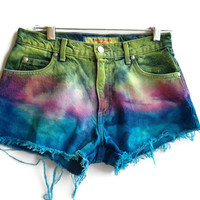 Dip Dyed High Waisted Shorts Denim Jean Shorts Boho Hipster Tumblr
