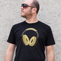 DJ Gold Headphones men's medium black t-shirt, retro music gift shirt guys hipster electronic dance techno
