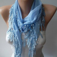 Products I Love / Light Blue and Elegance Shawl / Scarf with Lace by SwedishShop, $13.90
