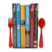 Red bookends -Fork and spoon- laser cut for precision these bookends will hold your favorite cookbooks
