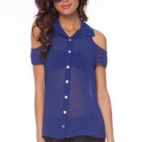 That's So Sweet Button Down Shirt in Royal :: tobi