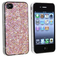 Snap-on Case Compatible With Apple® iPhone® 4 AT&T, Light Pink Bling