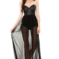 Reverse Maxi Dress Vegan Leather Bustier