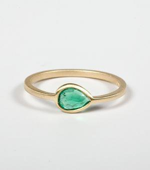 catbird::shop by category::JEWELRY::Wedding  Engagement Rings::Pear Ring with Emerald