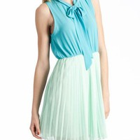 two tone pleated dress $40.90 in MINT - Seafoam Green | GoJane.com