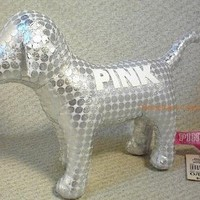 Victoria's Secret Pink Collectible Shiny Silver Plush Dog