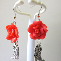 Wild West Cowboy Boot Silver Red Roses Earrings
