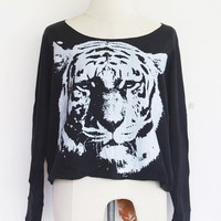 Tiger sweatshirt , Tiger sweater , Siberian Tiger Pullover Oversize Bat Wing Style Half Body In Black sweater.