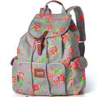 Victoria's Secret PINK Floral Print School Canvas Handbag Backpack Book Bag Tote