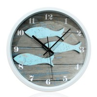 YCC Blue Fish Wood Grain Wall Clock Color Blue