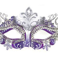 Venetian Purple Mask w/ Silver Metal Laser-cut and Crystals on Eyes