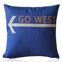 ZLP Go West Cotton and Linen Pillow With Pillow Insert Color Blue