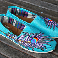 Pink and Purple Peacock Feathers on Turquoise Metallic Linen TOMS classics